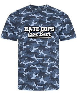 Hate Cops-Love Beer Camouflage Blau Shirt