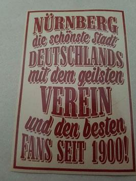 150 Nürnberg die schönste Stadt Riesen Aufkleber