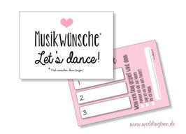 Musikwunschkarten rosa Herz
