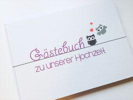 Gästebuch zur Hochzeit - Lila Eulen