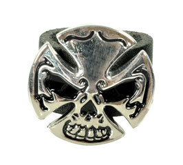 "LEDERRING ""SKULL CROSS"""