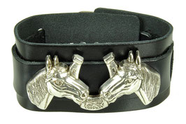 "LEDERARMBAND ""DOUBLE HORSE HEAD"""