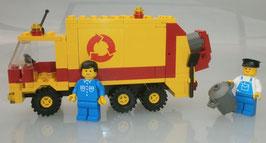 Lego 6693 Legoland Müllwagen gelb mit 2 Minifiguren +Anleitung