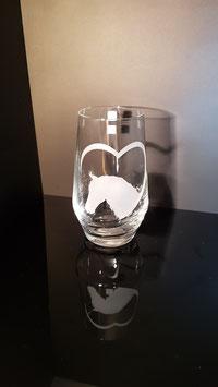 Pferdekopf mit Herz - Trinkglas