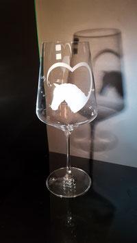 Pferdekopf mit Herz - Rotweinglas