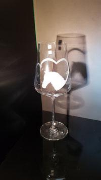Pferdekopf mit Herz - Weißweinglas