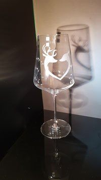 Hirschpaar - Rotweinglas