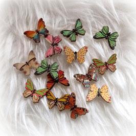 "Holzknopf ""kantiger Schmetterling"""