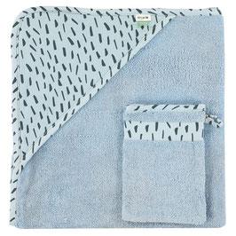Kapuzenbadetuch & Waschhandschuh Blue Meadow von Trixie