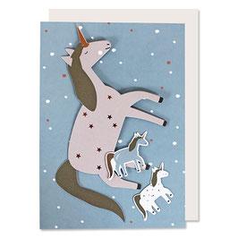 Postkarte Einhorn mit Deko-Elementen von Ava & Yves