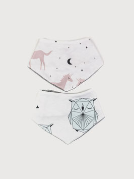 Wende-Halstuch 2er-Set / Geo Owl & Unicorn