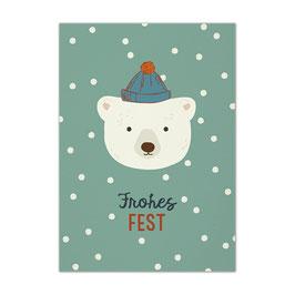 Postkarte Eisbär 'Frohes Fest'