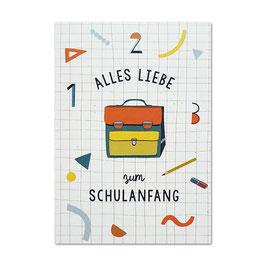 Postkarte 'Alles Liebe zum Schulanfang'