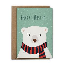 Grußkarte Eisbär 'Beary Christmas!'
