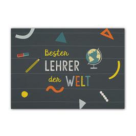 Postkarte 'Bester Lehrer der Welt'