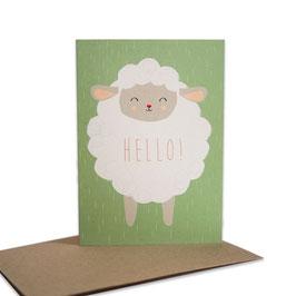 Grußkarte Schäfchen 'Hello!'