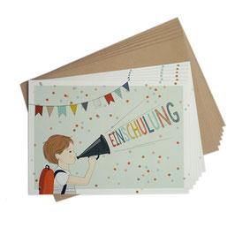 Einladungskarten-Set zur Einschulung 'Junge'