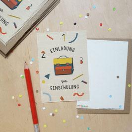 Einladungskarten-Set zur Einschulung 'Schulranzen'
