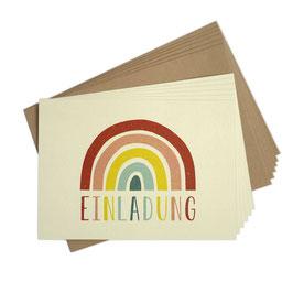 Einladungskarten-Set 'Regenbogen'
