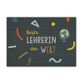 Postkarte 'Beste Lehrerin der Welt'