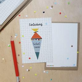 Einladungskarten-Set zur Einschulung 'Schultüte'