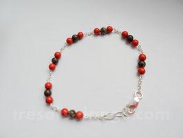 Bracelet jaspe rouge et brun