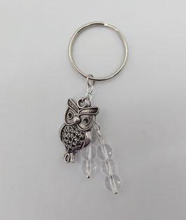 Porte clef cristal de roche et hibou