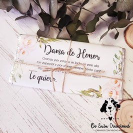 funda y cuerda para tableta de chocolate dama de honor colección elegancia (No incluye tableta)