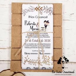 Invitación tableta de chocolate Novios pastel con hojas doradas