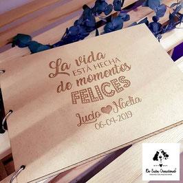 Libro de firmas de madera la vida está hecha de momentos felices personalizado