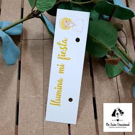 Cartón para bengalas comunión niña rubia letra amarilla