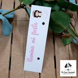 Cartón para bengalas comunión niña morena letra rosa