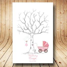 Árbol de huellas bautizo carro rosa