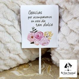 Piruleta de agradecimiento flores dulces