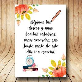 Cartel libro de firmas flores naranjas fb