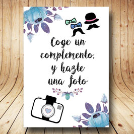 Cartel photocall flores azules fb