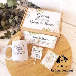 Kit agradecimiento damas de honor elegancia CG/TABL/PI/TAZ/CHA (Gracias por ser)