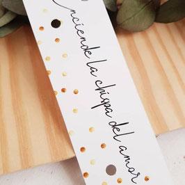 Cartón para bengala rectangular colección topos dorados  (No incluye bengala)
