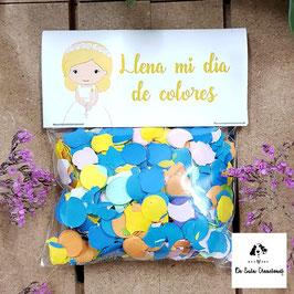 Confeti comunión niña rubia (letra amarilla)