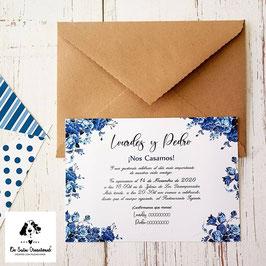 Invitación rosas azules