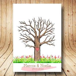 Árbol de huellas primavera corazón personalizado