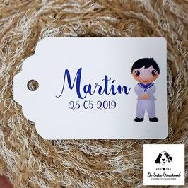 15 Tarjetas detalle rectangular comunión chico marinero