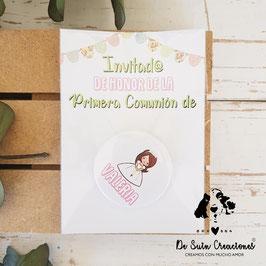 Chapa comunión de 3,8cm con tarjeta colección banderines chica
