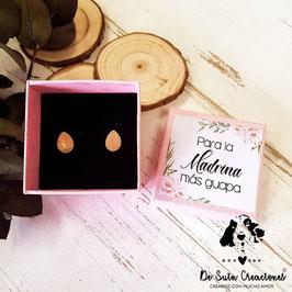 Pendientes madrina de acero dorado modelo gota caja rosa