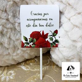 Piruleta de agradecimiento rosas rojas