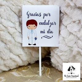 Piruleta de agradecimiento comunión niño traje blanco