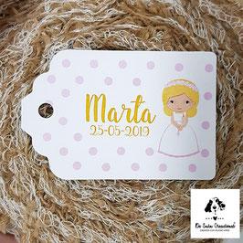 15 Tarjetas detalle rectangular topos comunión niña rubia letra amarilla