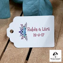 Tarjeta para detalles rectangular flores azules