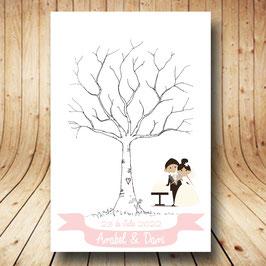 Árbol de huellas personalizado (Novios Guirlanda rosa)