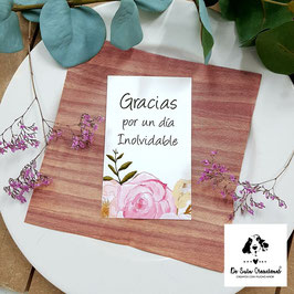 Tarjeta de agradecimiento grande flores dulces